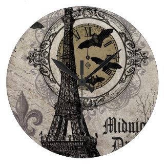 ヴィンテージのフランス人のハロウィンモダンなエッフェル塔 ラージ壁時計