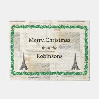 ヴィンテージのフランス人のパリの名前入りなクリスマスのマット ドアマット