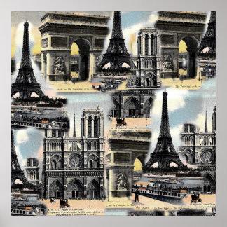 ヴィンテージのフランス人のパリ旅行コラージュのエッフェル塔 ポスター