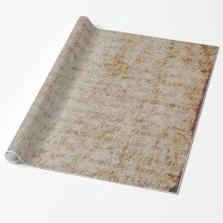 ヴィンテージのフランス人のブラウンタンの文字の硫酸紙 ラッピングペーパー
