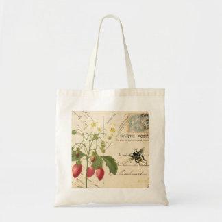 ヴィンテージのフルーツおよび花柄の郵便はがきの…トートバック トートバッグ