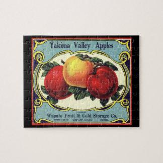 ヴィンテージのフルーツの木枠のラベルの芸術のYakimaの谷のりんご ジグソーパズル
