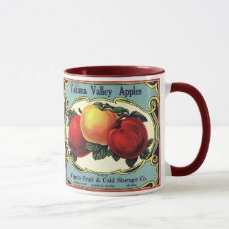 ヴィンテージのフルーツの木枠のラベルの芸術のYakimaの谷のりんご マグカップ