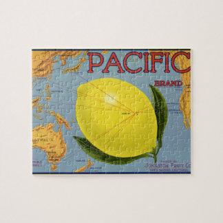 ヴィンテージのフルーツの木枠のラベルの芸術太平洋レモン柑橘類 ジグソーパズル