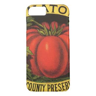 ヴィンテージのフルーツの木枠のラベルの芸術、ウェインCoのトマト iPhone 8/7ケース