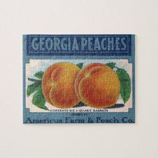 ヴィンテージのフルーツの木枠のラベルの芸術、ジョージアのモモ ジグソーパズル