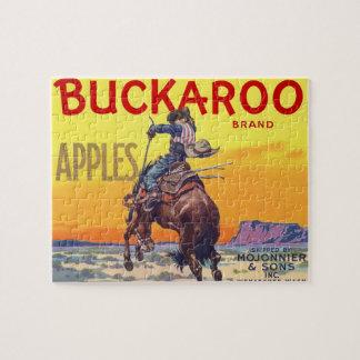 ヴィンテージのフルーツの木枠のラベルの芸術、Buckarooのりんご ジグソーパズル