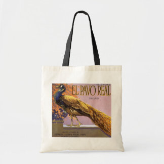 ヴィンテージのフルーツの木枠のラベルの芸術ElのPavoの孔雀の鳥 トートバッグ