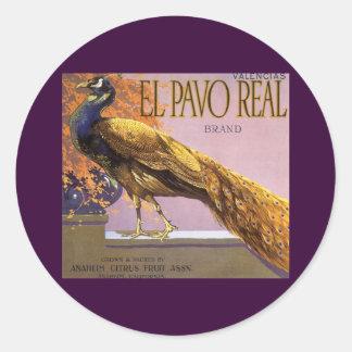 ヴィンテージのフルーツの木枠のラベルの芸術ElのPavoの孔雀の鳥 ラウンドシール