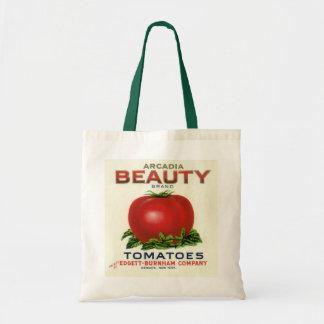 ヴィンテージのフルーツの木枠のラベル、アルカディアの美しいのトマト トートバッグ
