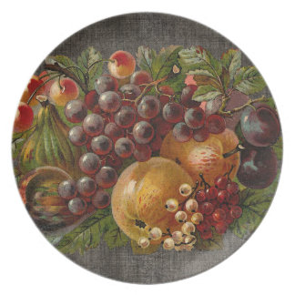 ヴィンテージのフルーツの秋の収穫のプレート プレート