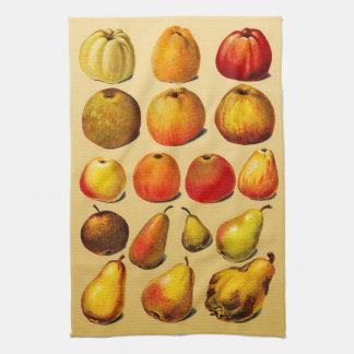 ヴィンテージのフルーツの(りんごおよびナシ)台所タオル キッチンタオル