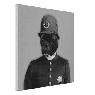 ヴィンテージのフレンチ・ブルドッグの警官 キャンバスプリント