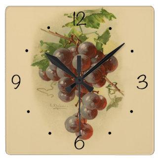 ヴィンテージのブドウ スクエア壁時計