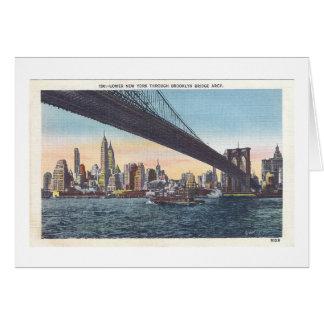 ヴィンテージのブルックリン橋の郵便はがき カード