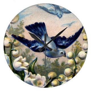 ヴィンテージのブルーバードによっては谷の鳥のユリが開花します ラージ壁時計