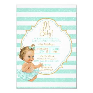 ヴィンテージのブロンドの女の赤ちゃんの水のチュチュのグリッターのシャワー カード