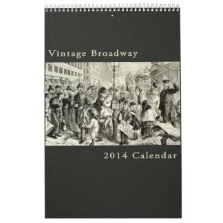 ヴィンテージのブロードウェイのニューヨークのアンティークの都市景観 カレンダー