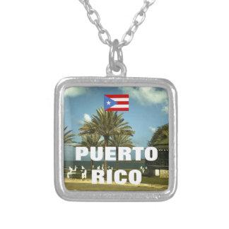 ヴィンテージのプエルトリコの写真撮影 シルバープレートネックレス