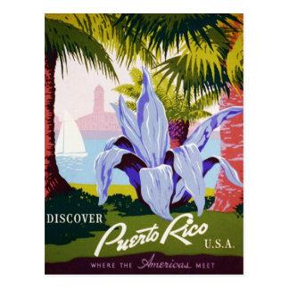 ヴィンテージのプエルトリコ旅行-熱帯アールデコ ポストカード