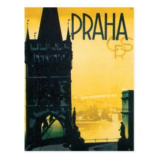 ヴィンテージのプラハ(Praha)の罰金旅行ポスター ポストカード