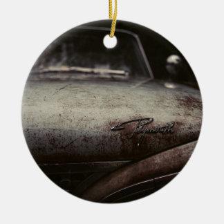 ヴィンテージのプリマスの自動車はアートなイメージデトロイト錆つきました セラミックオーナメント