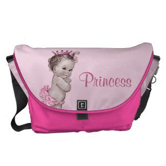 ヴィンテージのプリンセスのピンクのベビーのおむつのバッグ メッセンジャーバッグ