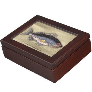 """ヴィンテージのプリントの""""Bahamaの石の魚""""の記念品箱 ジュエリーボックス"""