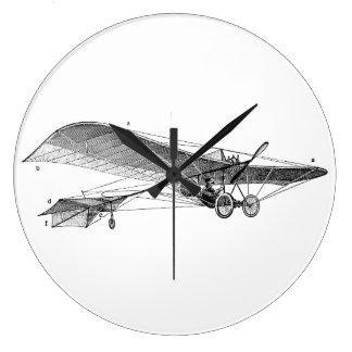 ヴィンテージのプロペラの飛行機のレトロの古い支柱の飛行機 ラージ壁時計