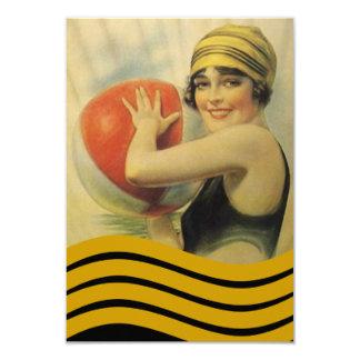ヴィンテージのプールを囲んでのパーティのビーチの招待状のフラッパーのCloche カード