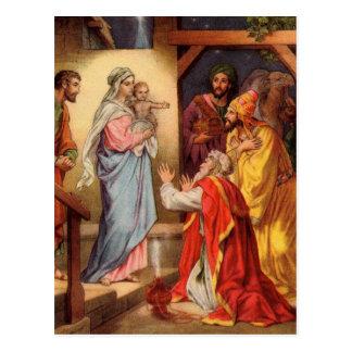 ヴィンテージのベビーイエス・キリストおよび3人の王 ポストカード