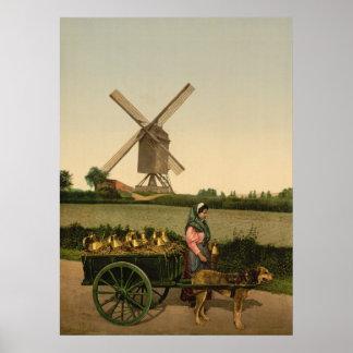 ヴィンテージのベルギーのMilkmaid (Laitière Belge) ポスター