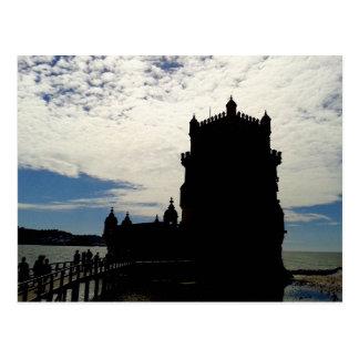 ヴィンテージのベレンタワーのシルエット2% pipe% Torre deベレン ポストカード