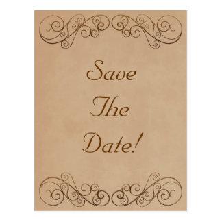 ヴィンテージのベージュ結婚式の保存日付 ポストカード