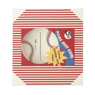 ヴィンテージのベースボールカードのBubblegumのラッパー ノートパッド