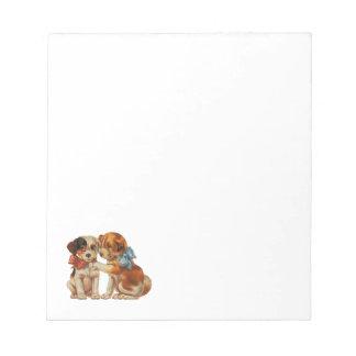 ヴィンテージのペット、弓を持つ初恋の子犬 ノートパッド