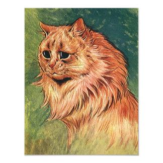 ヴィンテージのペット、長い髪のオレンジ猫 10.8 X 14 インビテーションカード