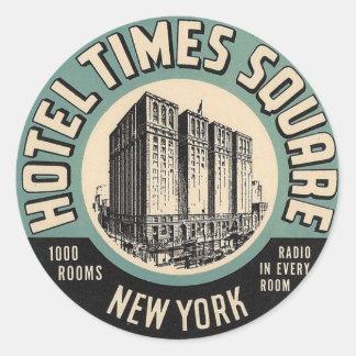 ヴィンテージのホテルのニューヨーク・タイムズの正方形のステッカー ラウンドシール
