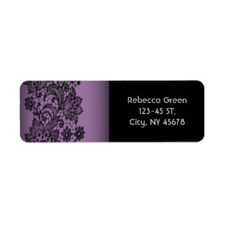 ヴィンテージのボヘミアの王室のな紫色の黒のレース ラベル