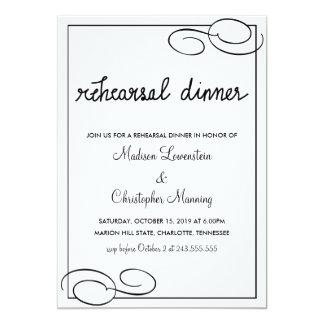 ヴィンテージのボーダーリハーサルの夕食のタイポグラフィの結婚 カード