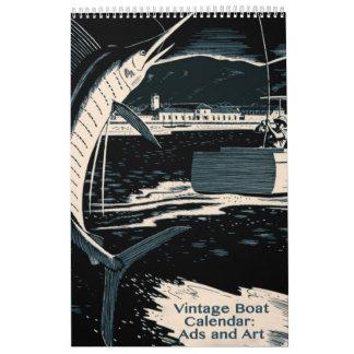 ヴィンテージのボートおよび水生生命 カレンダー