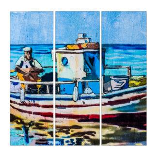 ヴィンテージのボートの落書きの通りの芸術のアクリルのトリプティク トリプティカ