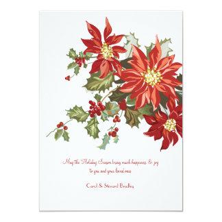 ヴィンテージのポインセチアの平らな休日カード カード