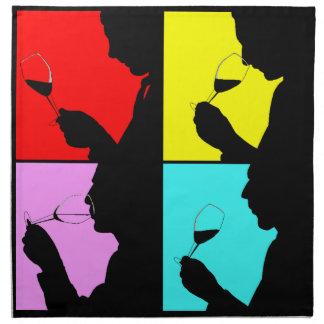 ヴィンテージのポップアートのワインの試飲の好み4のステップナプキン ナプキンクロス