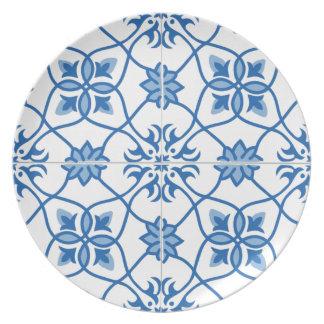 ヴィンテージのポルトガル人のAzulejoのタイルパターン お皿