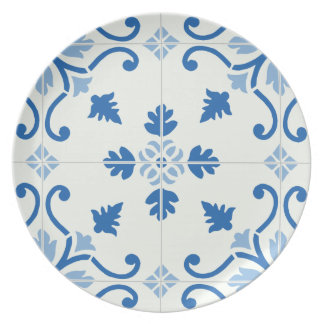 ヴィンテージのポルトガル人のAzulejoのタイルパターン 皿