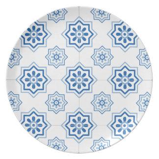 ヴィンテージのポルトガル人のAzulejoの青いタイルパターン ディナー皿