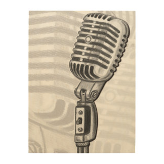 ヴィンテージのマイクロフォン木キャンバス ウッドウォールアート