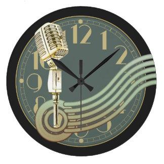 ヴィンテージのマイクロフォン ラージ壁時計