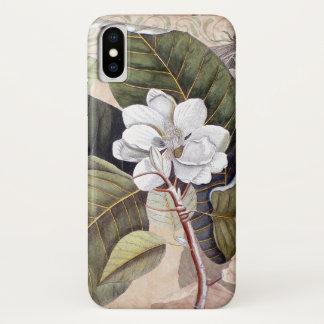ヴィンテージのマグノリアの旧式な植物のコラージュ iPhone X ケース